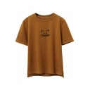 Simple Basic Cat Embroidered Round Neck Short Sleeve Tee