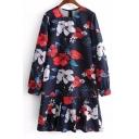 Floral Printed Round Neck Long Sleeve Pleated Hem Midi Swing Dress