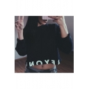 Street Fashion Letter Pattern Round Neck Long Sleeves Cropped Sweatshirt