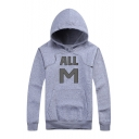 Hot Sale Simple ALL M Letter Printed Long Sleeve Leisure Hoodie with Pocket