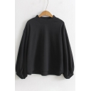 Spring Collection Blouson Long Sleeve Mock Neck Plain Dipped Hem Pullover Sweatshirt