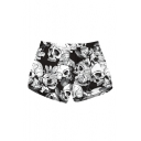 Hot Sale Skull Floral Printed Drawstring Waist Shorts