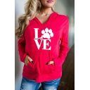 Natural Paw Letter Print Long Sleeves Pullover Hoodie with Pocket
