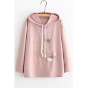 Popular Letter Embroidered Floral Embellished Long Sleeve Loose Leisure Hoodie