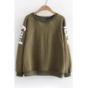 Simple Letter Pattern Round Neck Long Sleeves Pullover Sweatshirt