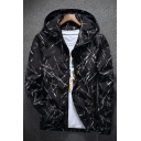 Spring's New Arrival Fashion Printed Long Sleeve Zip Up Sports Hooded Coat