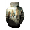 Cool Stylish Amazon Warrior Character Print Long Sleeves Pullover Leisure Hoodie
