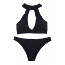 Basic Sexy Plain Halter Hollow Out Front Bikini