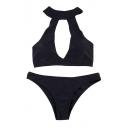 Basic Sexy Plain Halter Hollow Out Front Bikini