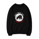Street Style Panther Letter Print Round Neck Long Sleeves Pullover Sweatshirt