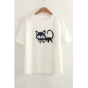 Cat Fish Embroidered Round Neck Short Sleeve Leisure Comfort Tee