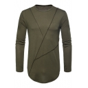 Natural Men's Fashion Embroidery Side Round Neck Long Sleeves Autumn Tee