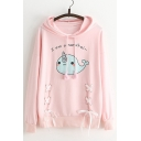 Lovely Whale Cartoon Letter Print Lace-up Detail Long Sleeves Pullover Hoodie