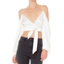 Holiday Style Long Sleeve Cold Shoulder Bow Tie Waist Cropped Blouse