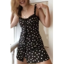 Fancy Polka Dot Print Spaghetti Straps Ruffle Detail Button Front Mini Cami Dress