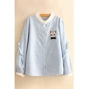 Cute Cat Embroidered Stand Up Collar Striped Long Sleeve Buttons Down Shirt