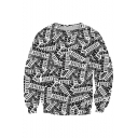 Digital Letter Printed Oversize Round Neck Long Sleeve Pullover Sweatshirt
