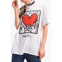 Heart Letter Printed Round Neck Short Sleeve Comfort Unisex Tee