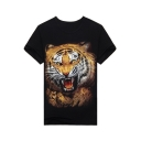 Fashionable Tiger Print Round Neck Short Sleeves Casual Summer Tee