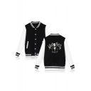 Color Block Letter Skull Printed Back Single Breasted Long Sleeve Stand Up Collar Baseball Jacket