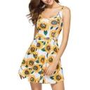 Summer Collection Floral Sunflower Print Scoop Neck Sleeveless Mini Tank Dress