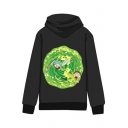 Hot Fashion Letter Cartoon Print Long Sleeves Pullover Hoodie with Pocket