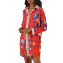 Fancy Floral Pattern Lapel Button Front Dipped Hem Tunic Shirt
