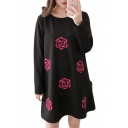 Simple Rose Floral Print Round Neck Loose Mini T-shirt Dress