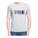 Comic Symbol Letter Printed Round Neck Short Sleeve Graphic Tee