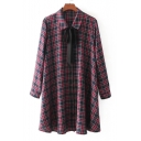 Stylish Tartan Plaids Pattern Lapel Bow Neck Button Front Long Sleeve Mini Shirt Dress