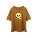 Smile Face Letter Printed Round Neck Short Sleeve Tee
