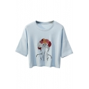 Floral Embroidered Girl Printed Round Neck Short Sleeve Cropped Tee