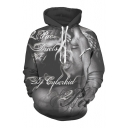 Digital Letter Character Printed Long Sleeve Leisure Loose Hoodie