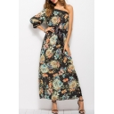 Floral Printed One Shoulder 3/4 Length Sleeve Bow Tied Waist Maxi Dress