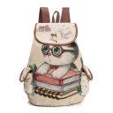 Daily Fashion Cat Cartoon Pattern Flap Pockets Backpack School Bag