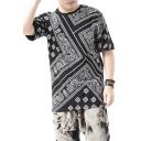 Retro Paisley Print Round Neck Short Sleeves Summer Men's T-shirt