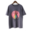 Unique Earth Letter Print Round Neck Short Sleeves Summer T-shirt