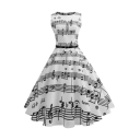 Elegant Music Note Pattern Belted Round Neck Midi Fit & Flare Monochrome Dress