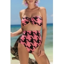 Fancy Geometric Pattern Bow Knotted Front High Waist Bikini