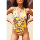 Sexy Fancy Floral Print V-Back Plunge Neck Women's One Piece Swimwear