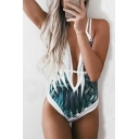 Summer Stylish Strappy Cross Back Plunge Neck Plant Leaf Print One Piece Swimwear