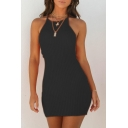 Basic Halter Sleeveless Plain Ribbed Slim Mini Bodycon Dress