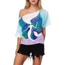Mermaid Floral Printed Sloping Shoulder Short Sleeve Leisure Comfort Tee