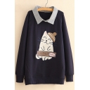Popular Cat Cartoon Letter Embroidered Lapel Long Sleeves Pullover Layered Sweatshirt