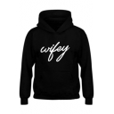 Hot Fancy Letter Print Long Sleeves Pullover Hoodie with Pocket