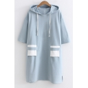 Simple Color Block Drawstring Hood Half Sleeve Loose Mini Hooded Dress