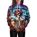 Skull Floral Printed Long Sleeve Leisure Hoodie with Pocket