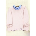 Lovely Cat Pattern Collared Fake Two Pieces Long Sleeve Pullover Sweatshirt