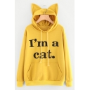Chic Simple Letter Printed Cat Ears Embellished Hood Long Sleeve Leisure Hoodie