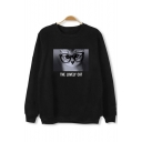 Lovely Cat Letter Printed Round Neck Long Sleeve Pullover Sweatshirt